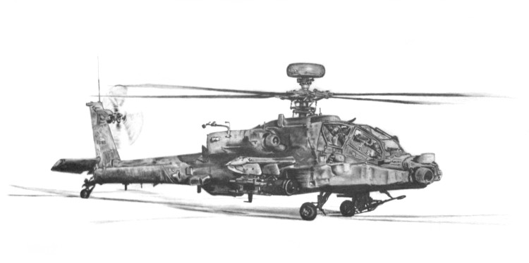 Apache Helicopter - Pencil - £Sold