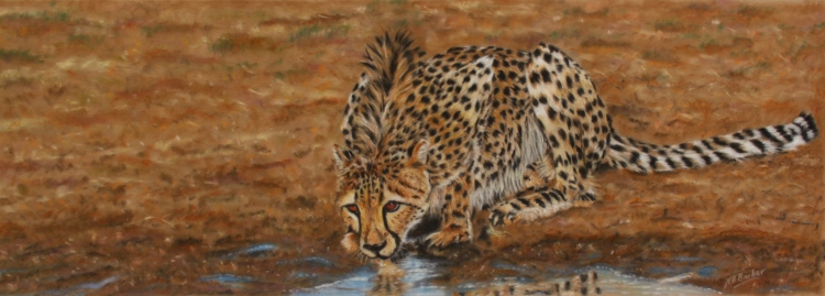 "Cool Refreshment - Pastel on Velour - Framed Original - £500 Size 34""x17.5"""
