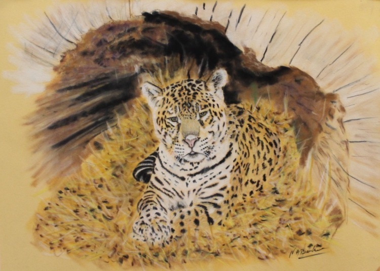 Cat in the log - Pastel - Framed Original - £200