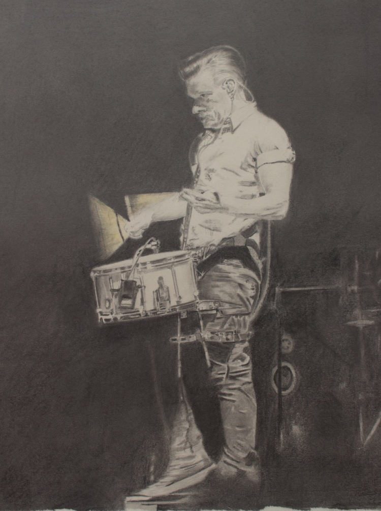 Drummer (Larry Mullen jr) - Unframed Original - Graphite - 32x36cm - £300