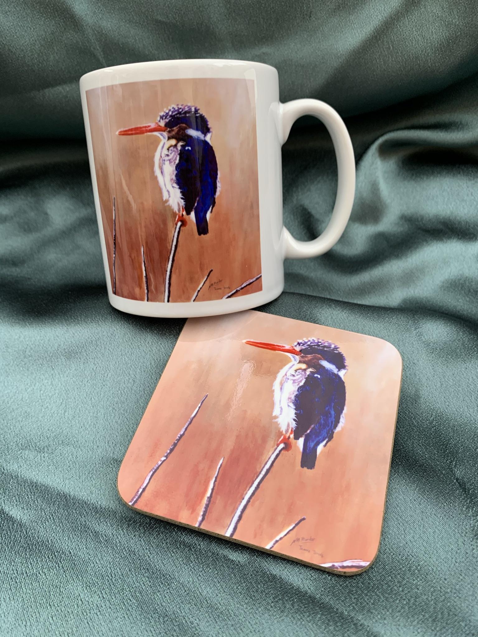 Malachite Kingfisher Mug and Coaster - £8