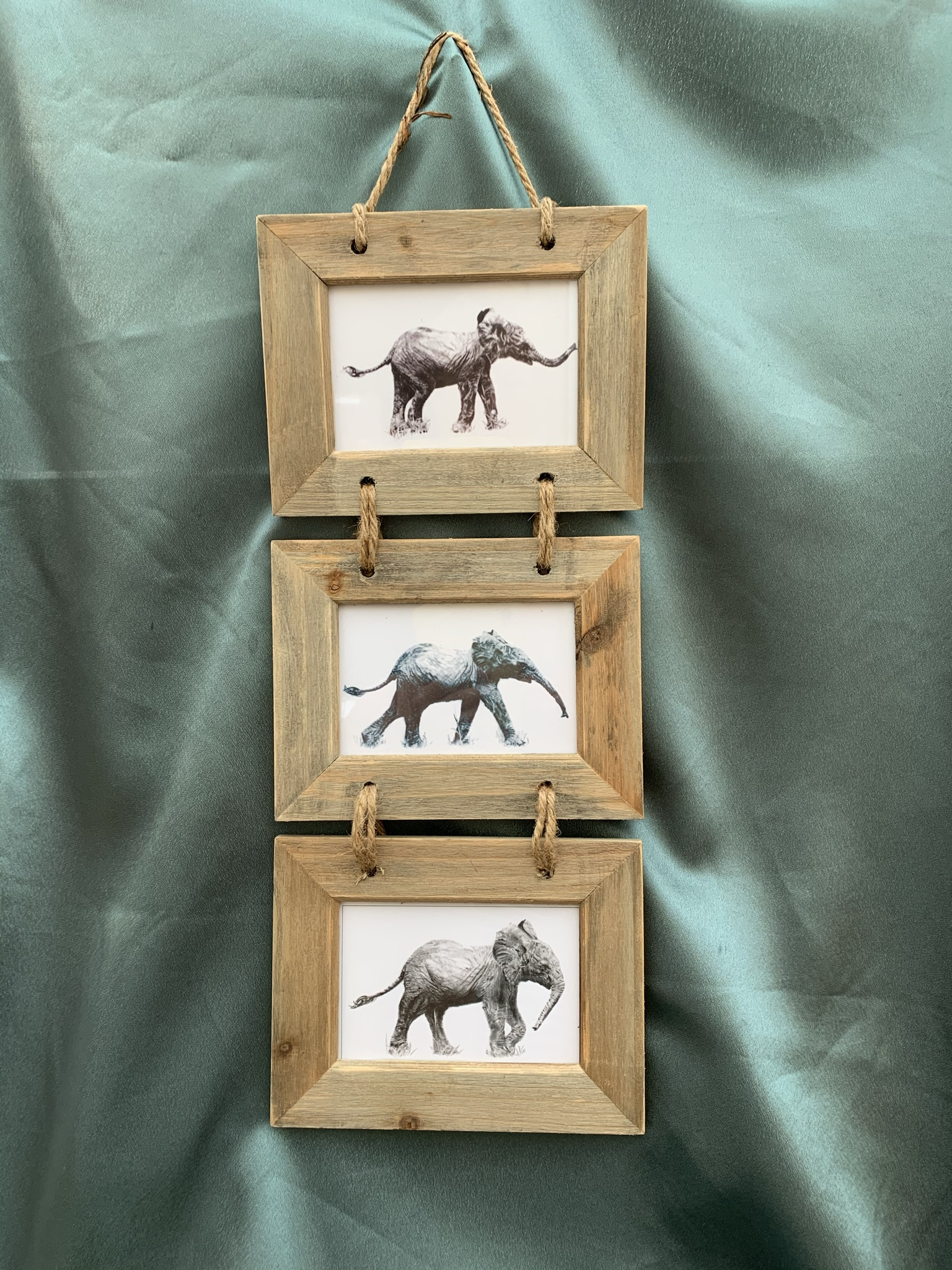 Trio of Elephant Pictures - Rustic Frame - £25