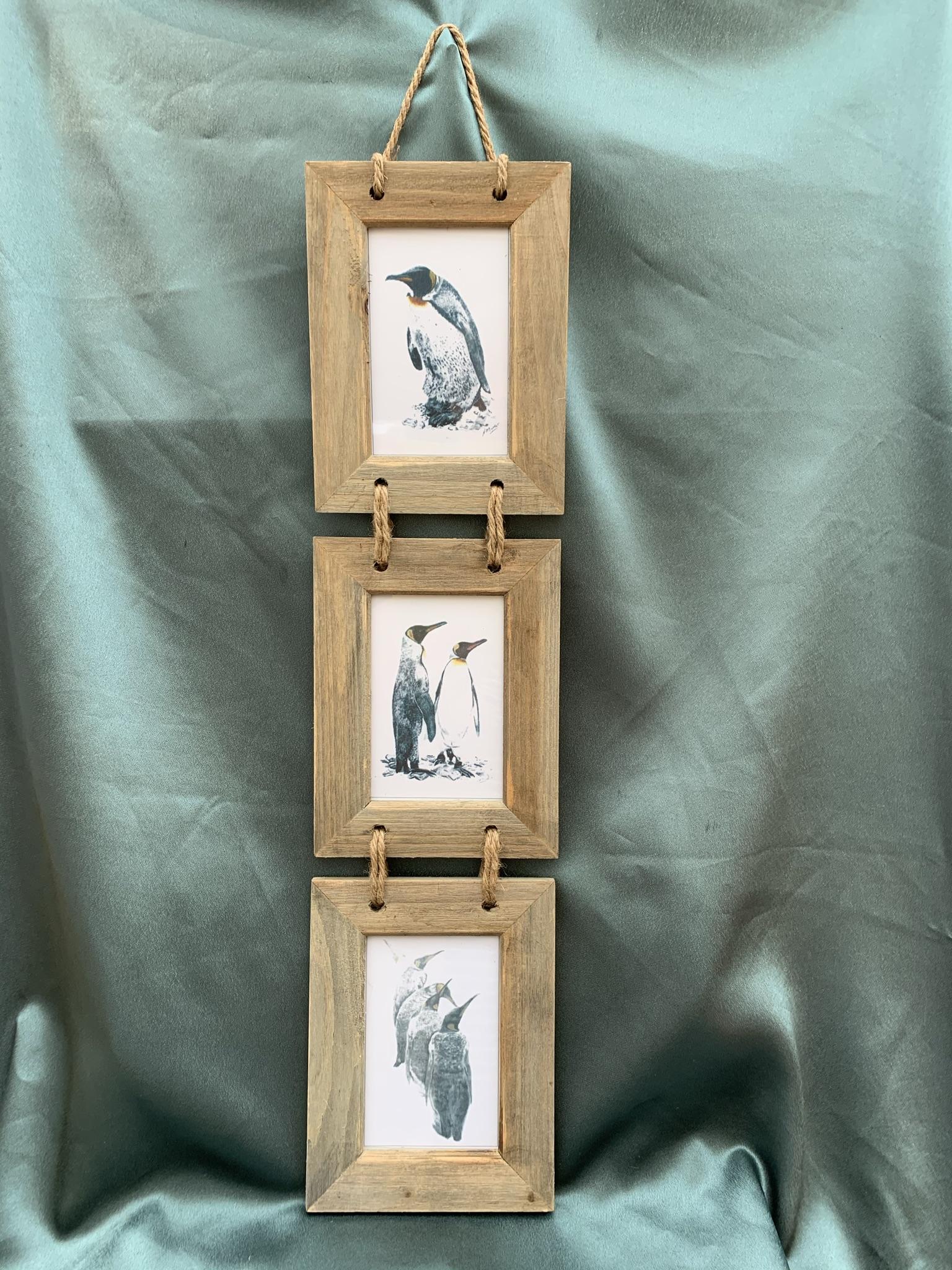 Trio of Penguin Pictures - Rustic Frame - £25