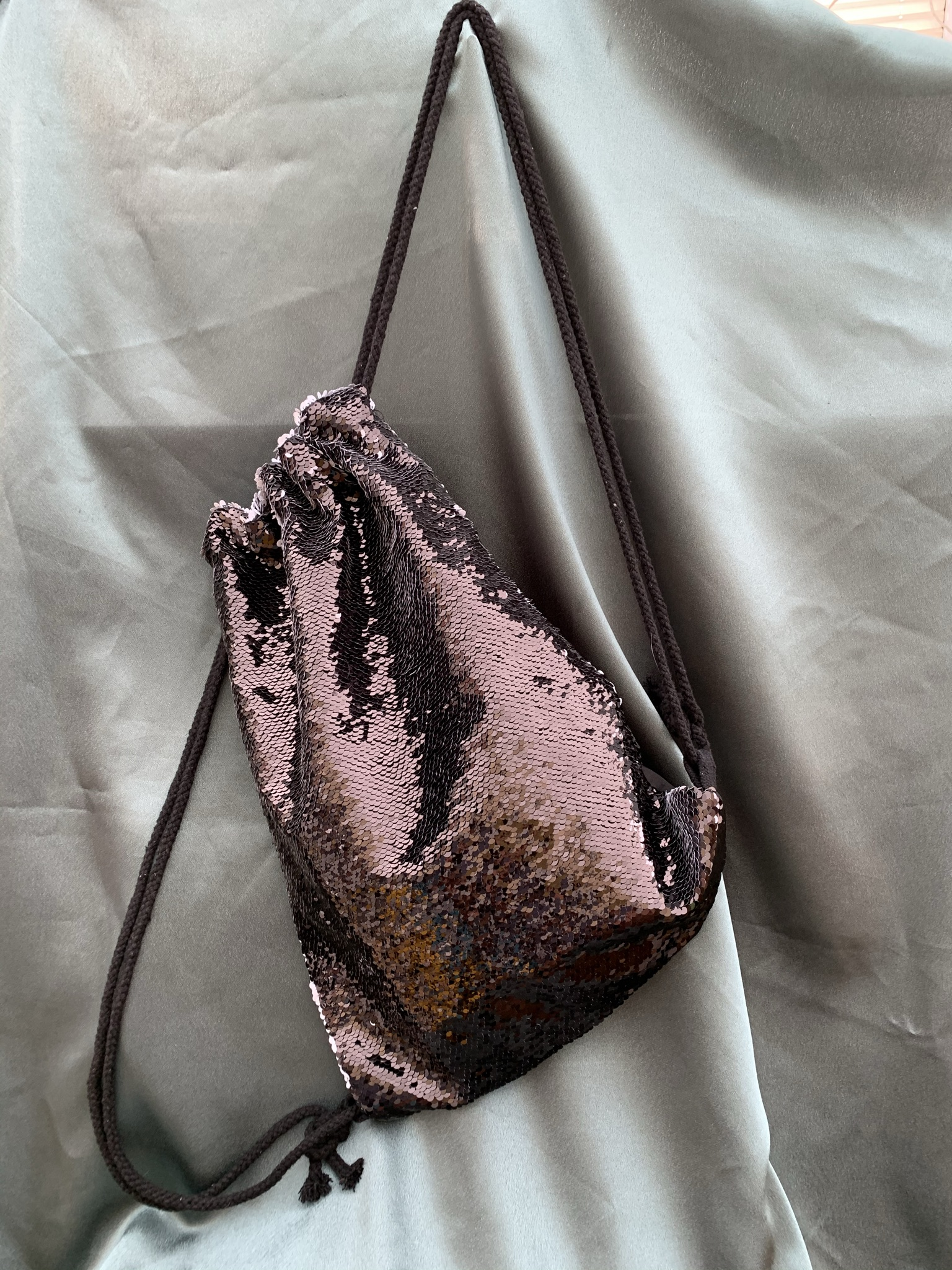 Sequin and Black velvet Rucksack - Choice of Picture - £15