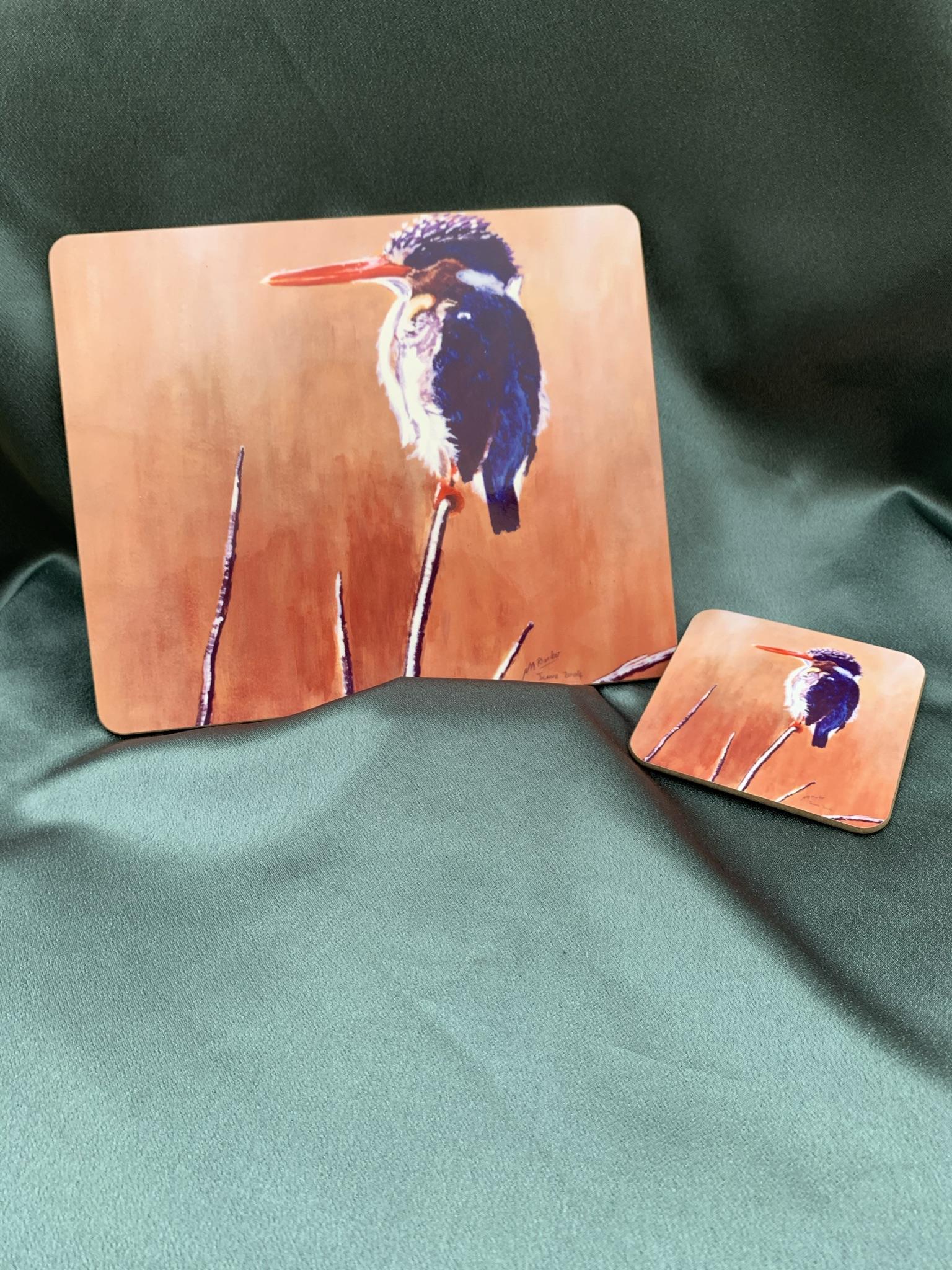 Malachite Kingfisher - 4 x Placemats & 4 Coasters - £28
